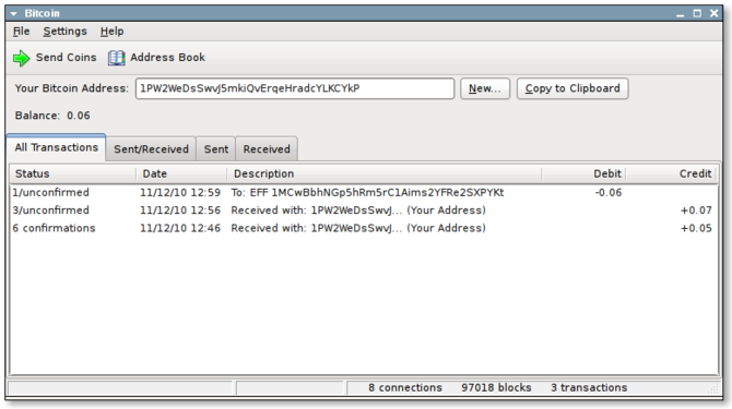 Screenshot of the Bitcoin client, using crypto...